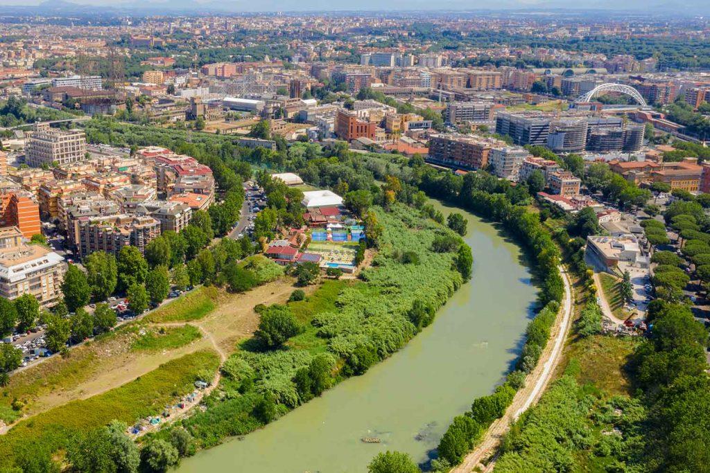 Aerial view of Gazometro Ostiense Rome