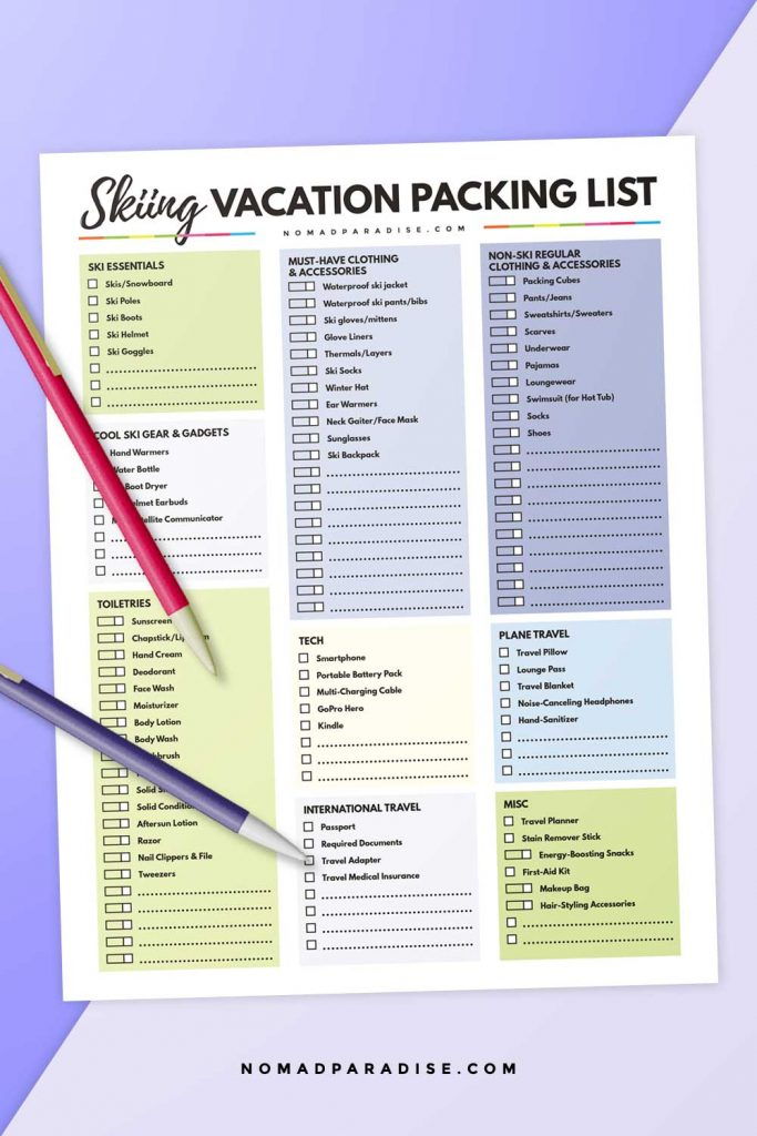 Skiing Vacation Packing List